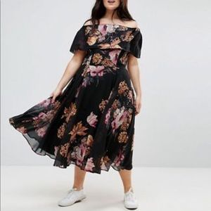 Asos Curve Floral Bardot Dress